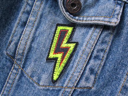 Bild: Patch Blitz neongelb, Jeansflicken Blitz Aufnäher zum aufbügeln