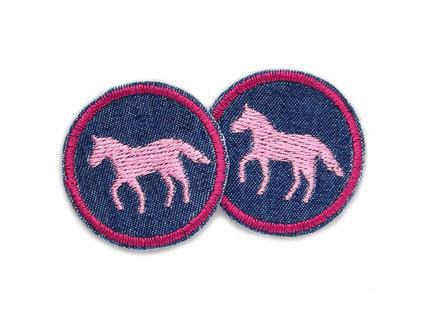 Bild: Jeansflicken Pferd rosa mini Patch Hosenflicken zum aufbügeln