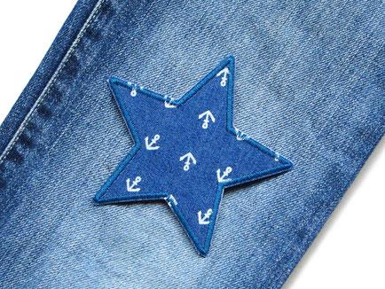 Jeansflicken Stern mit kleinen Ankern, Aufbügler Bügelflicken Applikation Stern Anker