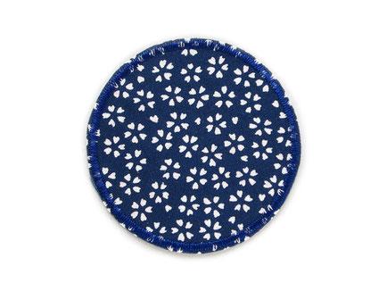 Bild: Aufnäher Hosenflicken zum aufbügeln mit Blümchen dunkelblau