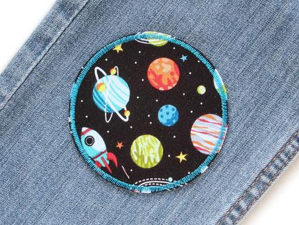 Flicken zum aufbügeln für Kinder mit Weltall, Planeten, Stern und Raketen
