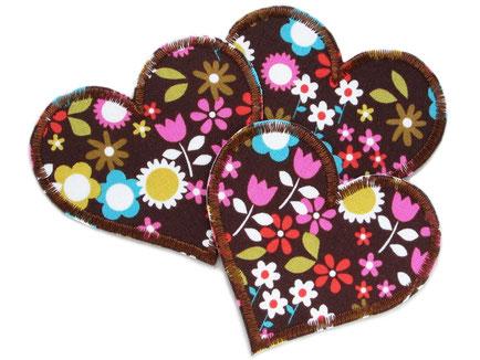 Bild: Herz Bügelflicken Blumen, Flicken zum aufbügeln in Herzform