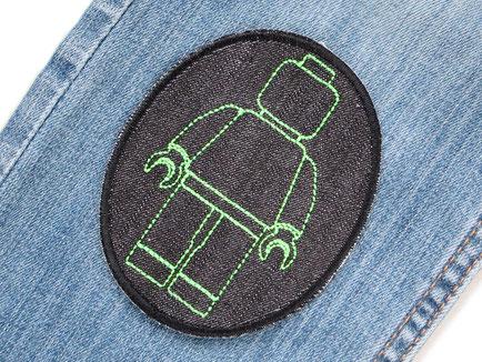 Bild: Legomännchen Bügelbild neongrün, Bügelflicken für Kinder, Flicken zum aufbügeln mit Lego grün