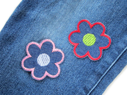Bügelflicken Blumen, kleine Blumen Bügelbilder als Flicken für Jeanshosen