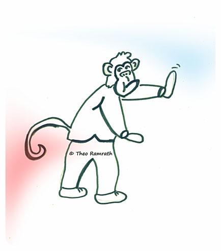 Im Zurückgehen die Affen vertreiben