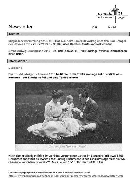 Newsletter Lokale Agenda 21 - Februar 2018, Bildmotiv von Michael Schlenger für die Ernst-Ludwig-Buchmesse, die kurz vor Ostern stattfindet: Ernst Ludwig mit Eleonore, Donatus und Häschen