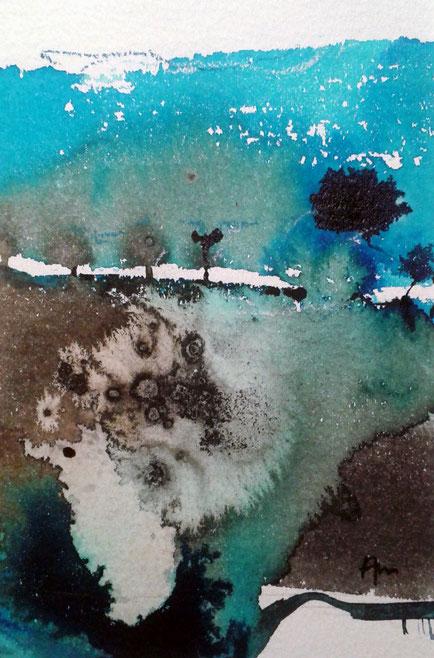 encre de chine et aquarelle rehaussée de pastel sec