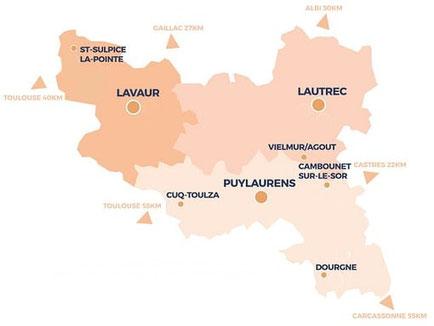 Pays de Cocagne, Le Pays de cocagne, Lautrec, Lavaur, Puylaurens, Dourgne