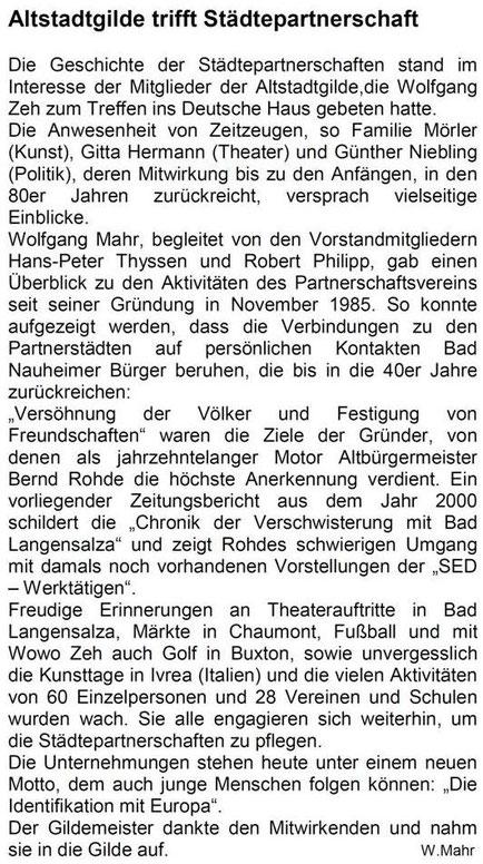 Juni 2013: Referent Wolfgang Mahr über die Städtepartnerschaften
