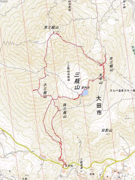 三瓶山ルート図