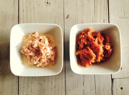 Zweierlei Kartoffelsalat mit 1. Schmand und 2. Essig, Honig und Öl
