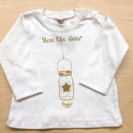 T-Shirt Blanc et Or Bébé, Rock my Citron, Shine Like Stars, Cadeaux Fêtes, Anniversaires, Naissances