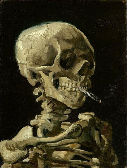 Череп с горящей сигаретой Винсент Ван Гог - самые известные картины Ван Гога