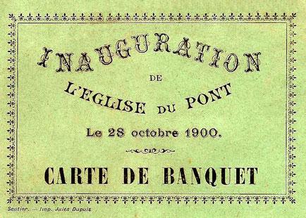 Copia dell'invito per il banchetto del giorno dell'inaugurazione