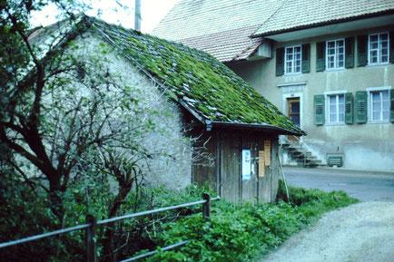 Auch kleine Gebäude prägen das Ortsbild: Das Waschhaus, welches im Zuge der Hauptstrassen-Sanierung abgebrochen wurde. (Foto: chb, ca. 1982)