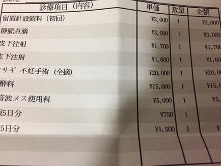 診察料金が記載された領収書
