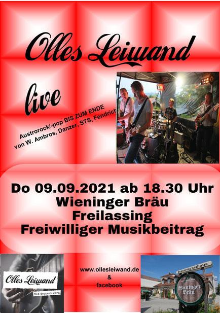 Olles Leiwand spielt im Wieninger Freilassing mit Austropop (Ambros, STS, Fendrich, Danzer uva.)
