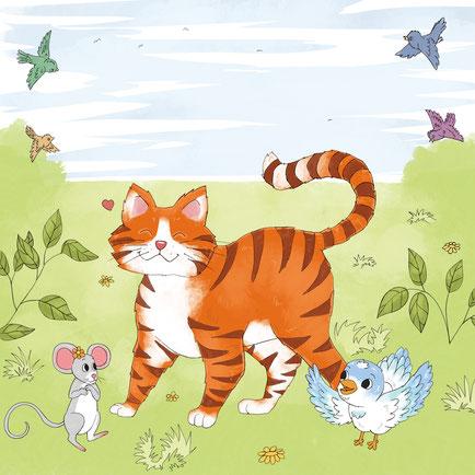 Maike Kliche Kinderbuchillustration Katze Illustration Kinderbuch