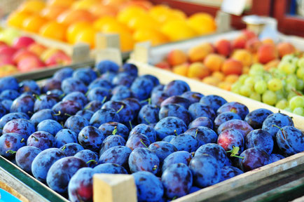 Plums on the market stand in Vienna Copyright VikaRayu