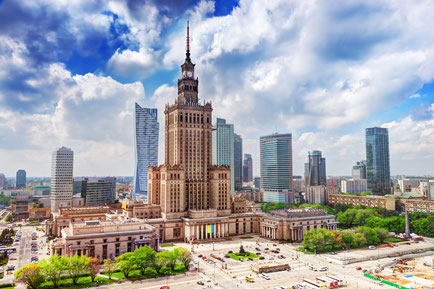 Warsaw, Poland. Aerial view Palace of Culture and Science and downtown business skyscrapers, city center. Copyright PHOTOCREO Michal Bednarek