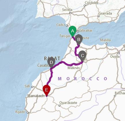 Mapa itinerario ruta 5 dias de Tanger a Marrakech. Viajes SoloMarruecos