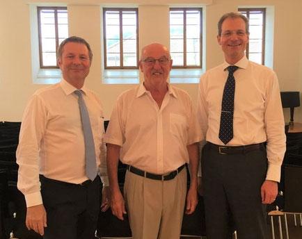 Drei Bildungs- und Kulturdirektoren auf einem Bild: vrnl - Reto Wyss (2011 - 30.6.2019), Anton Schwingruber (2003 - 2011), Marcel Schwerzmann (ab 1.7.2019)