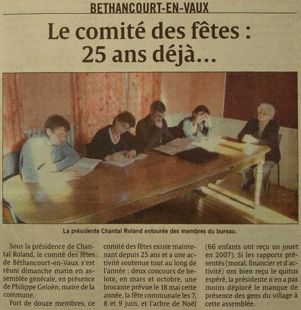 Erreur sur le titre de l'article, les 25 ans du Comité des Fêtes de Béthancourt-en-vaux serons mis à l'honneur lors d'une rétrospective en 2011.
