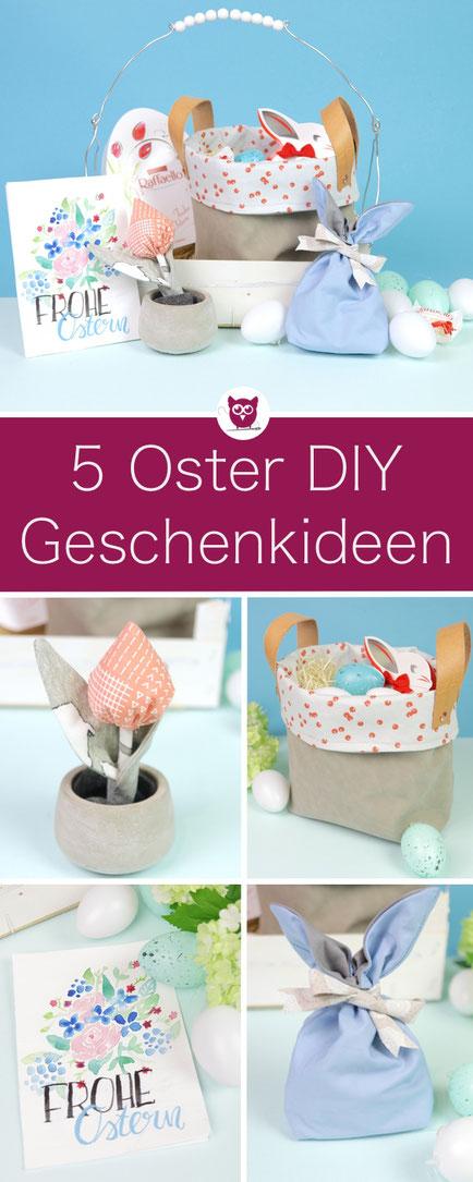 5 DIY Geschenkideen zu Ostern: Utensilo nähen, Tulpen nähen, Osterkarte mit Handlettering, Hasenbeutel nähen mit Schnittmuster, Osterkörbchen aus Obstkiste nach Anleitung von DIY Eule