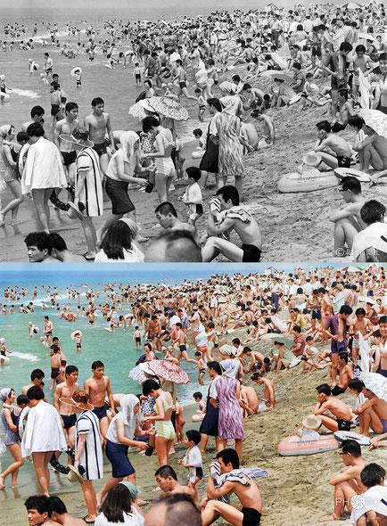 修復・色再現 作業前→作業後比較 1968(昭和43)年7月21日、石川県内灘海水浴場