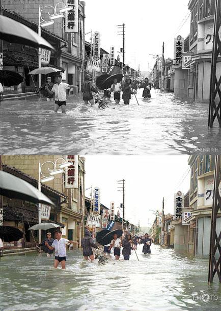 修復・色再現 作業前→作業後比較 1958(昭和33)年7月25日、石川県七尾市の一本杉通り