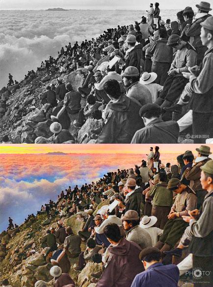 修復・色再現 作業前→作業後比較 1965(昭和40)年7月、白山の御前峰山頂