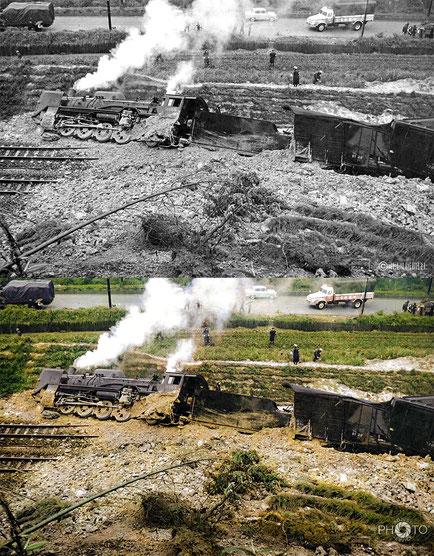 修復・色再現 作業前→作業後比較 1963(昭和38)年6月4日、国鉄北陸線の津幡-倶利伽羅間