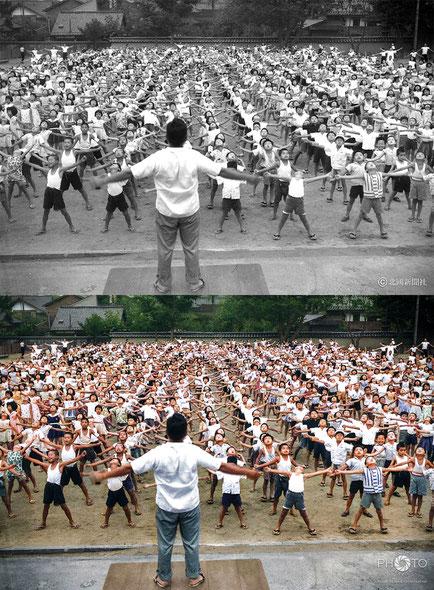 修復・色再現 作業前→作業後比較 1958(昭和33)年7月23日早朝、金沢市馬場小学校