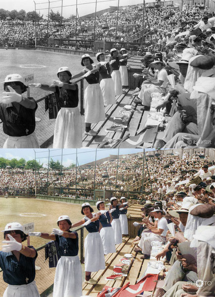修復・色再現 作業前→作業後比較 1956(昭和31)年8月3日、金沢市の兼六園球場