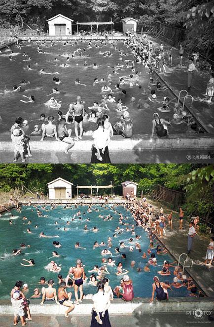 修復・色再現 作業前→作業後比較 1956(昭和31)年7月28日、金沢市本多町公園市民プール