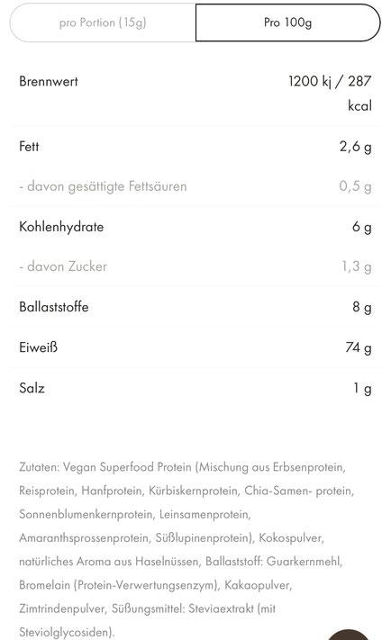 Nährwertangaben, OrganicAlpha, Alphafood, Alphafoods, Greendoo, Eiweiß, Protein, vegan Protein