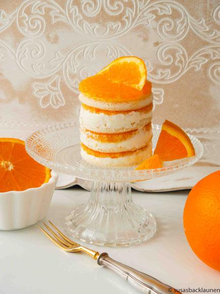 Tramezzini mit Quark und frischen Orangenscheiben