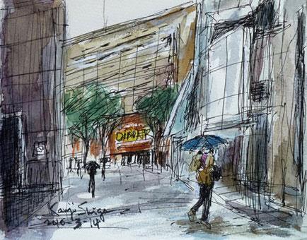 雨の桜木町駅前広場