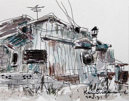茅ヶ崎市・サザン通りの駐車場の小屋