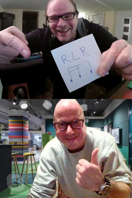 Bruno mit Happydrums-Schüler via Skype-Online-Unterricht