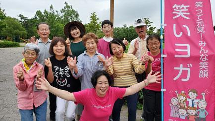 2019年7月 松阪市鈴の森公園笑い(ラフター)ヨガのみなさん