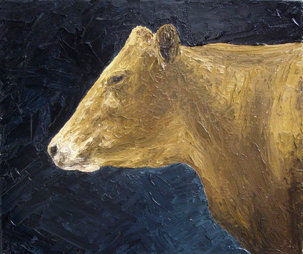 Rindvieh im Portraitstudio (Öl auf Leinwand, 22 x 26 cm, verkauft)