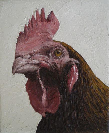 Hühnerportrait (Öl auf Leinwand, 18 x 22 cm, reserviert)