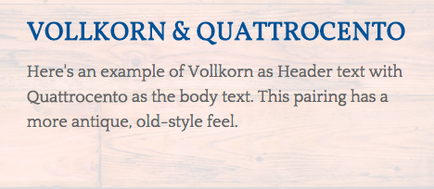 Time Period: Vollkorn & Quattrocento
