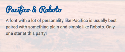 Font Contrast: Pacifico paired with Roboto