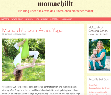 AERIAL YOGA Bericht auf www.mamachillt.com