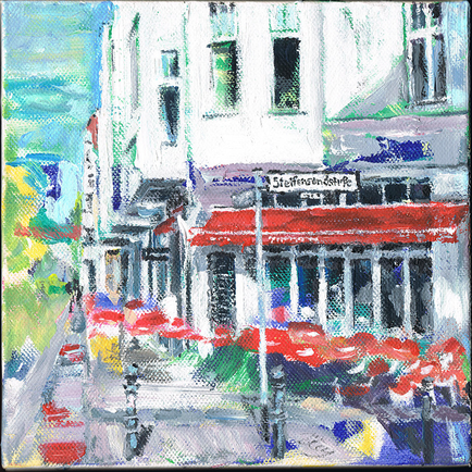Cafe Manstein  am Lietzensee . 20 x 20 cm Acryl auf Leinwand . VERKAUFT