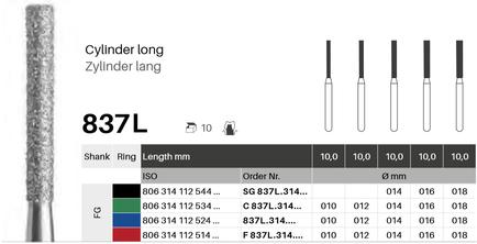 Zylinder lang 837L, Diamant FG