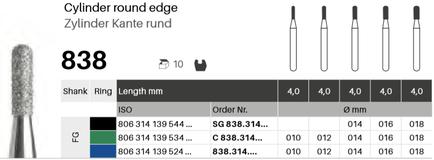 Zylinder Kante rund 838, Diamant FG