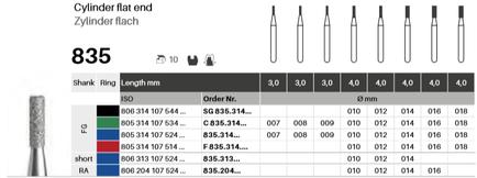 Zylinder flach 835, Diamant FG